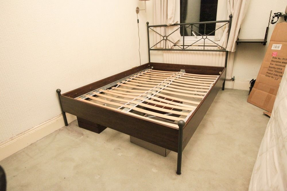 Ikea Dark Wood Bed Frame