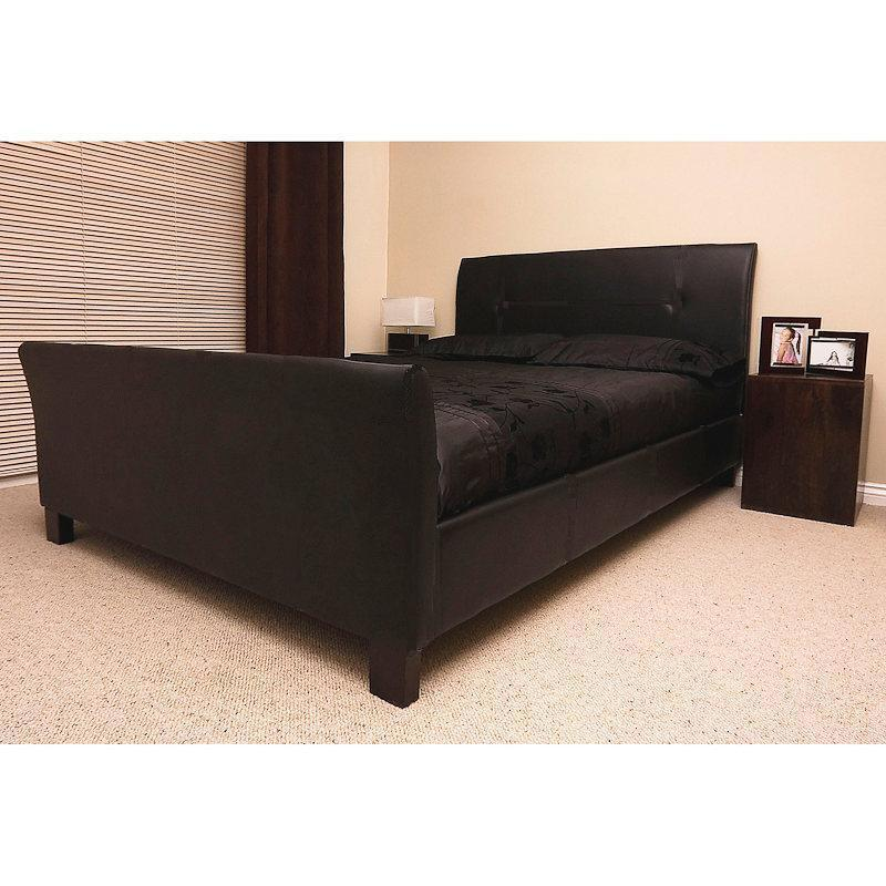 King Size Leather Sleigh Bed Frame