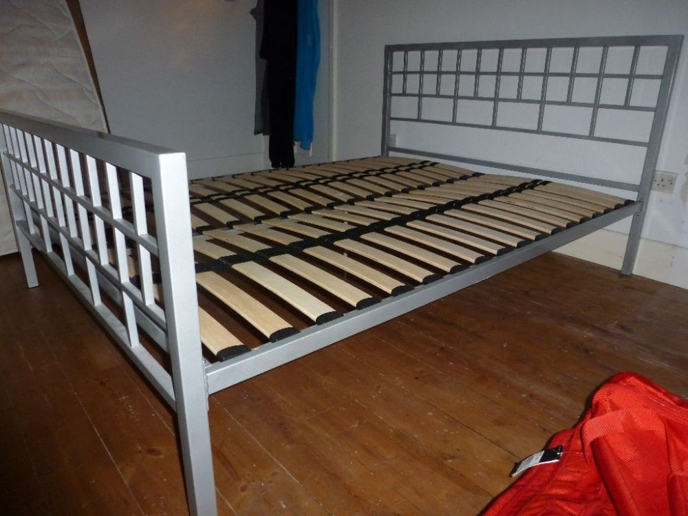 King Size Metal Bed Frame With Metal Slats