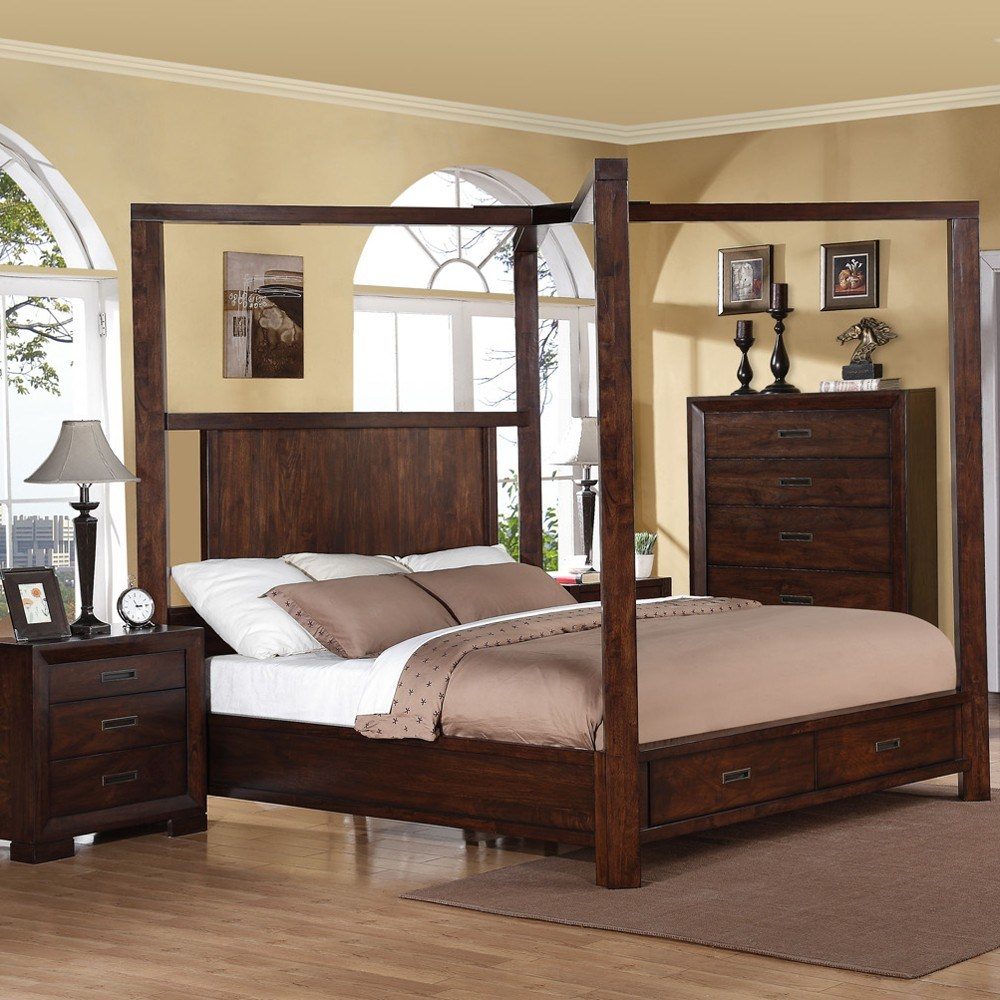 King Size Wood Canopy Bed Frame