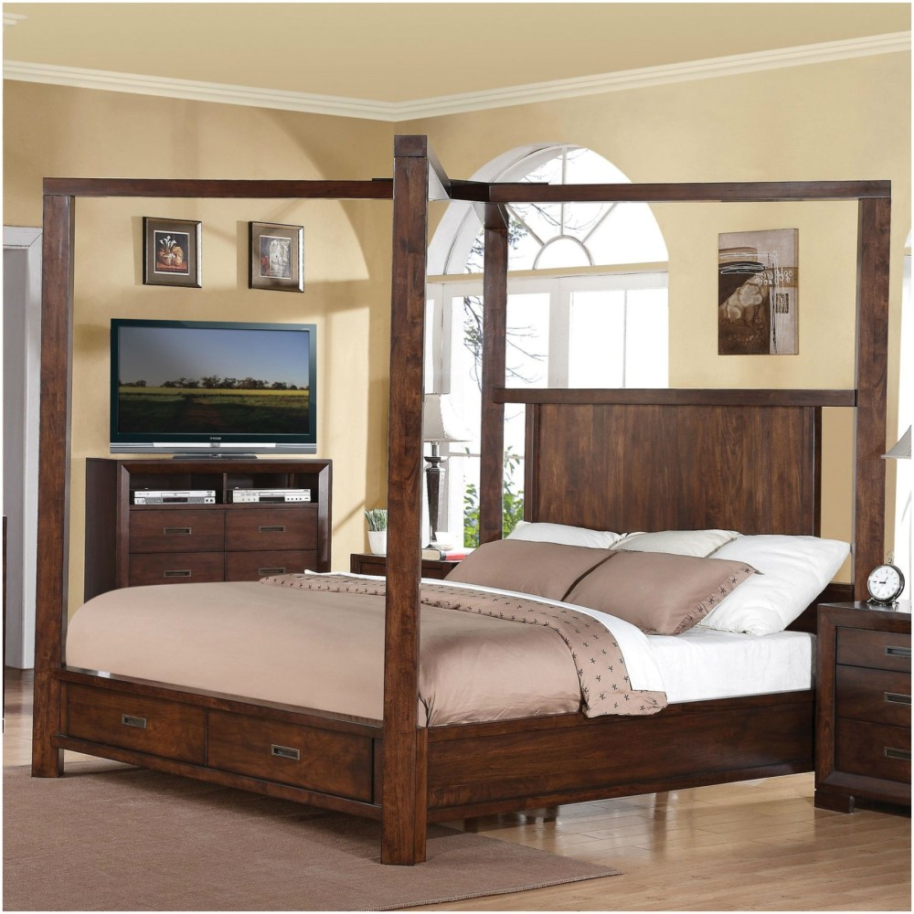 King Size Wooden Bed Frame With Storage Drawers