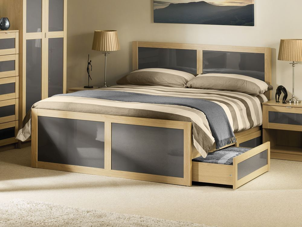 Light Grey Wood Bed Frame