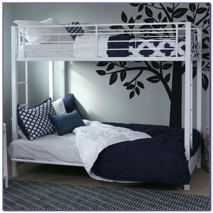 Metal Bunk Bed Frame With Futon Silver And Black