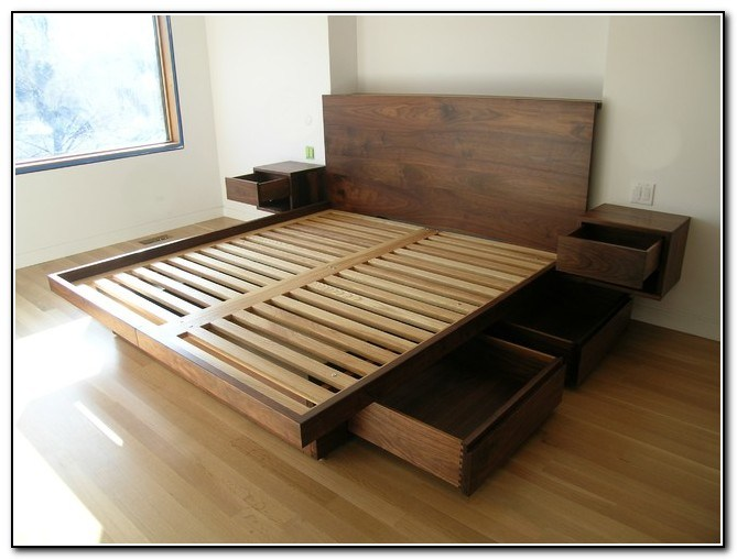 Metal Platform Bed Frame With Storage