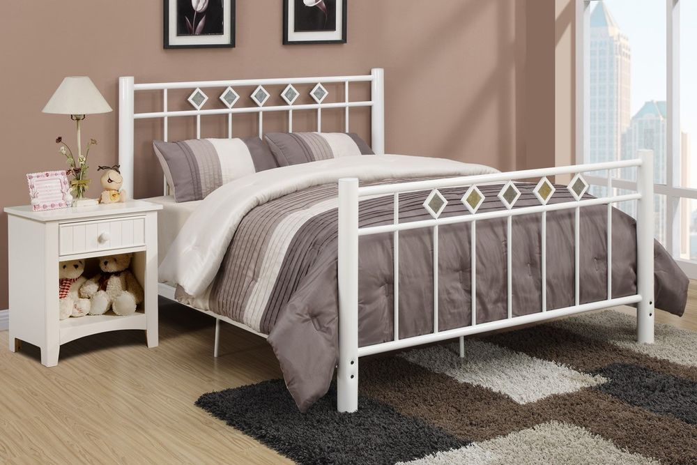 Metal Queen Bed Frame White