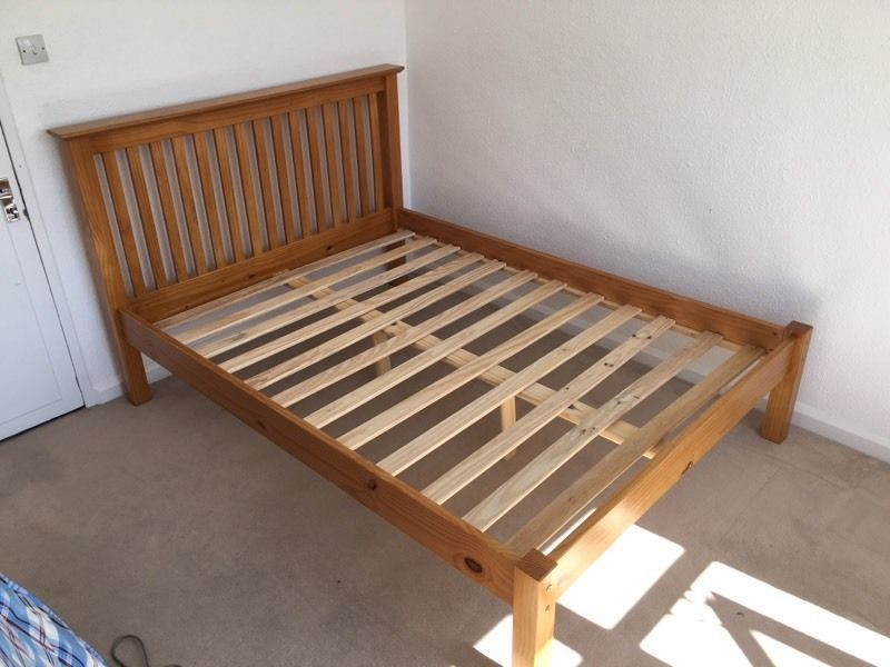 Natural Wood King Size Bed Frame
