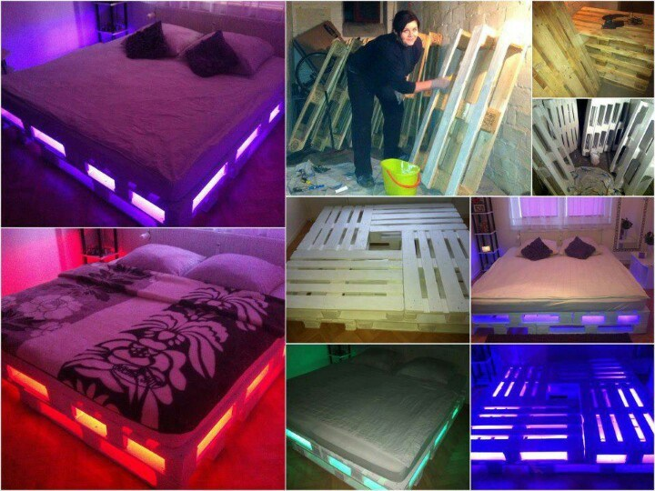 Pallet Bed Frame With Lights Pinterest