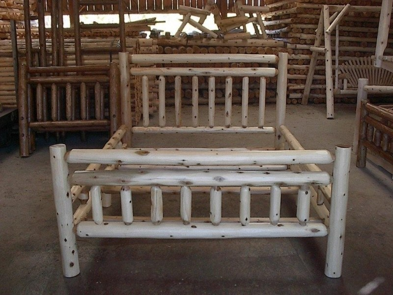 Pine Log Queen Bed Frame