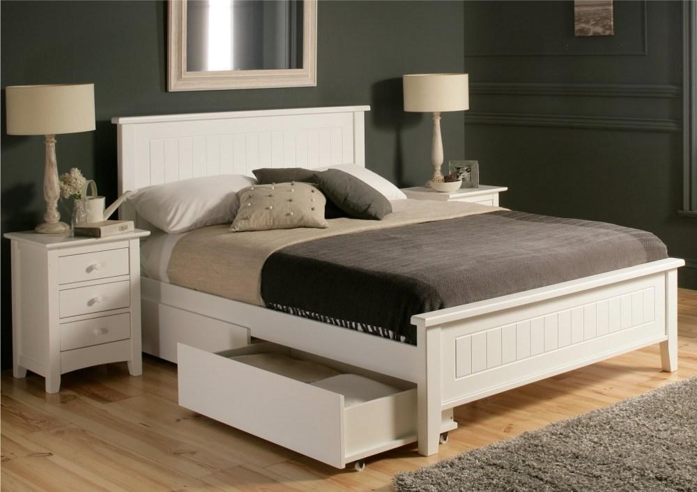 Platform Bed Frame Queen White
