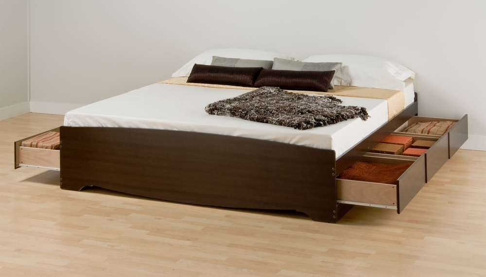 Platform Bed Frame With Drawers King