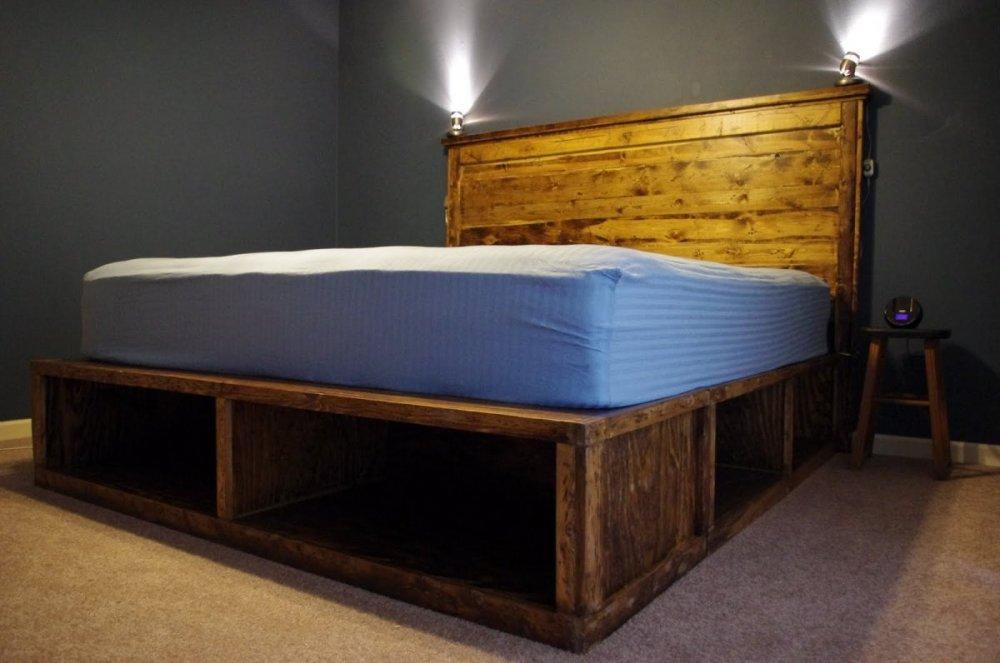 Platform Bed Frame With Shelves