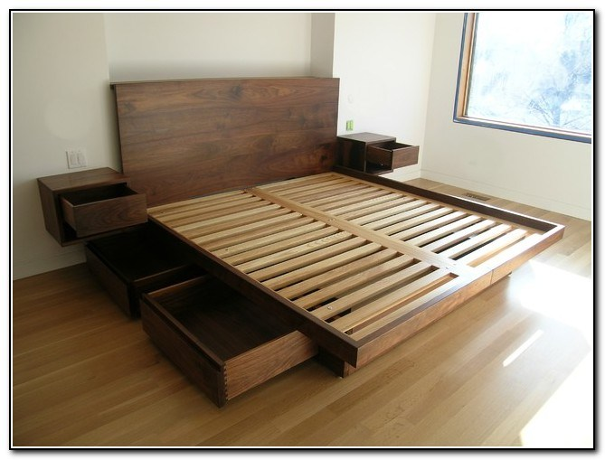 Platform King Bed Frame With Drawers
