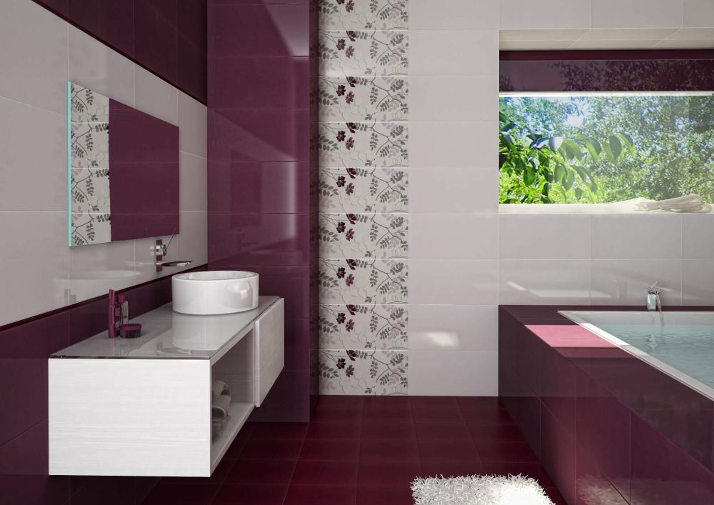 Purple Bathroom Tiles Ideas
