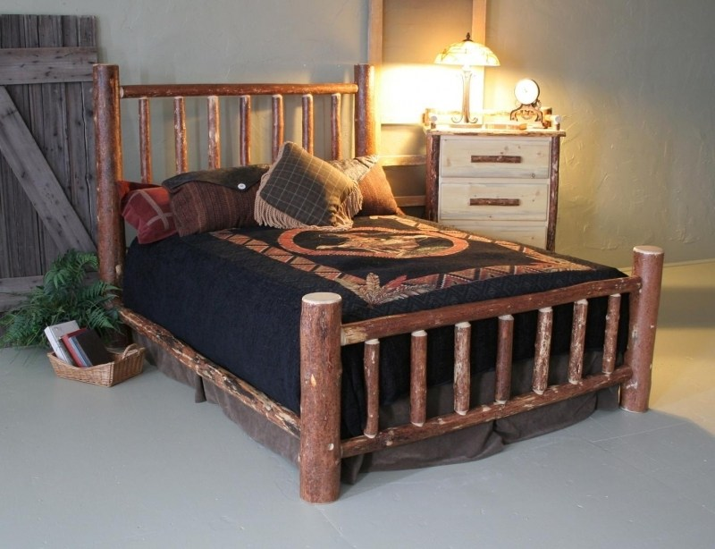 Queen Pine Log Bed Frame