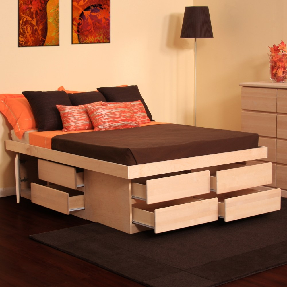 Queen Platform Bed Frame With Trundle