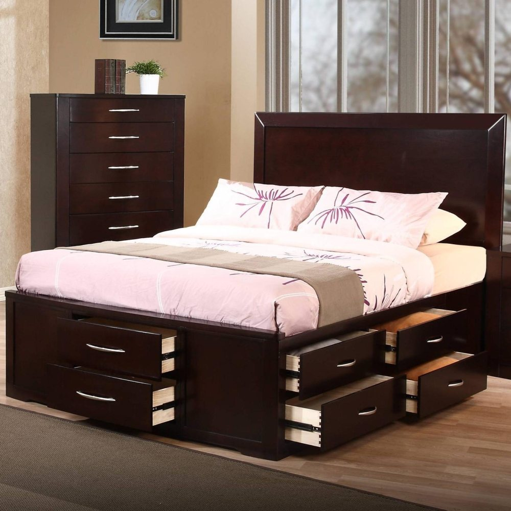 Queen Size Bed Frame With Storage Drawers
