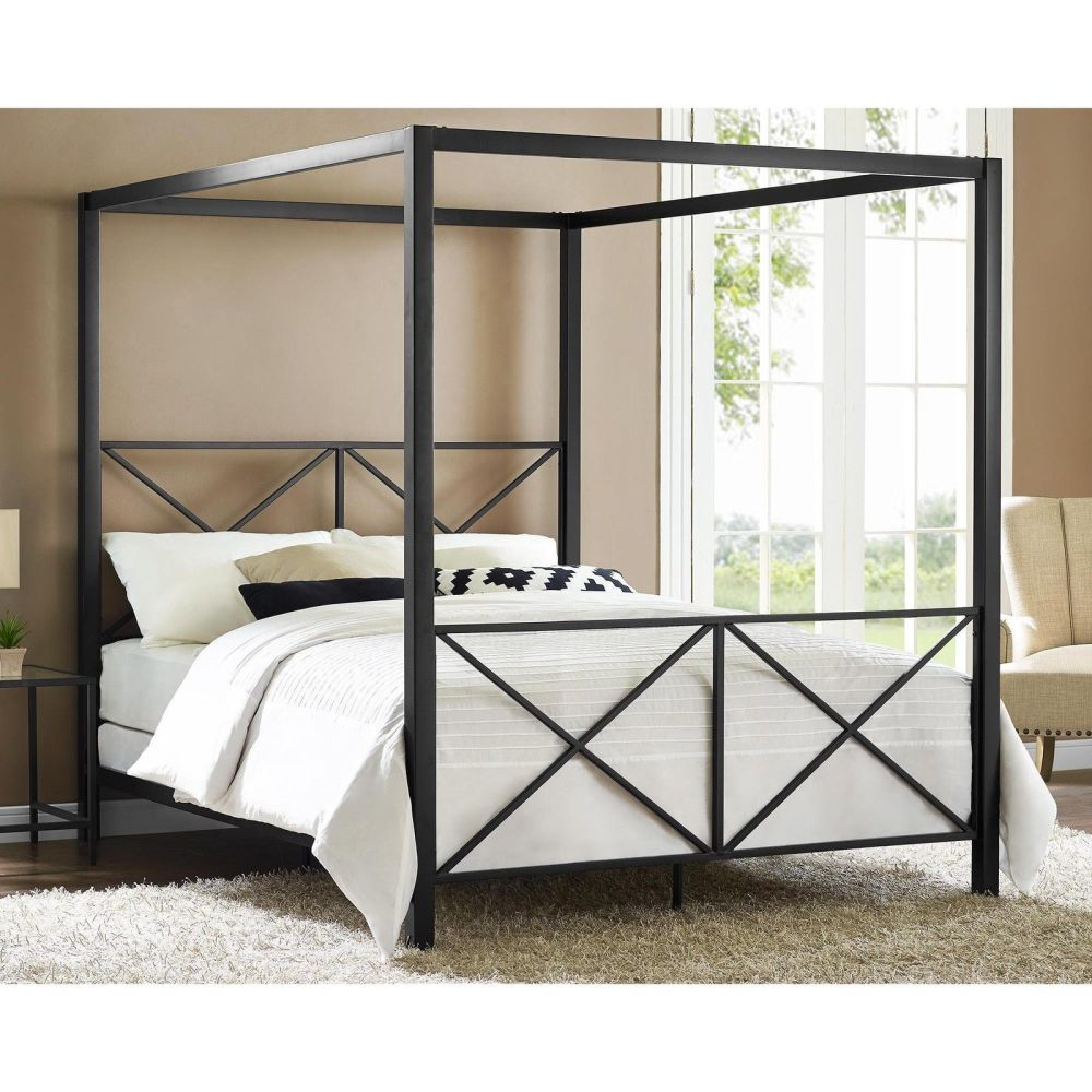 Queen Size Black Canopy Bed Frame