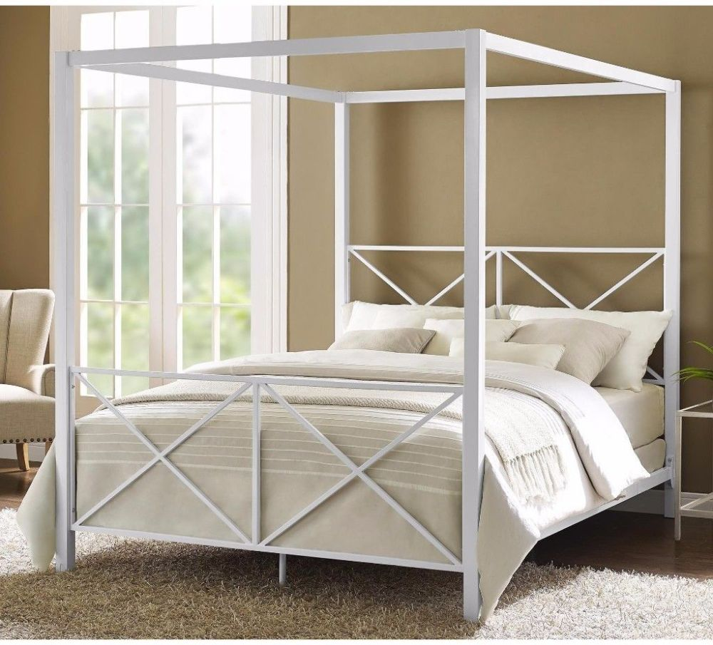 Queen Size Canopy Bed Frame White