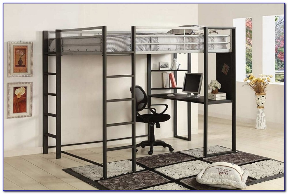 Queen Size Loft Bed Frame With Desk