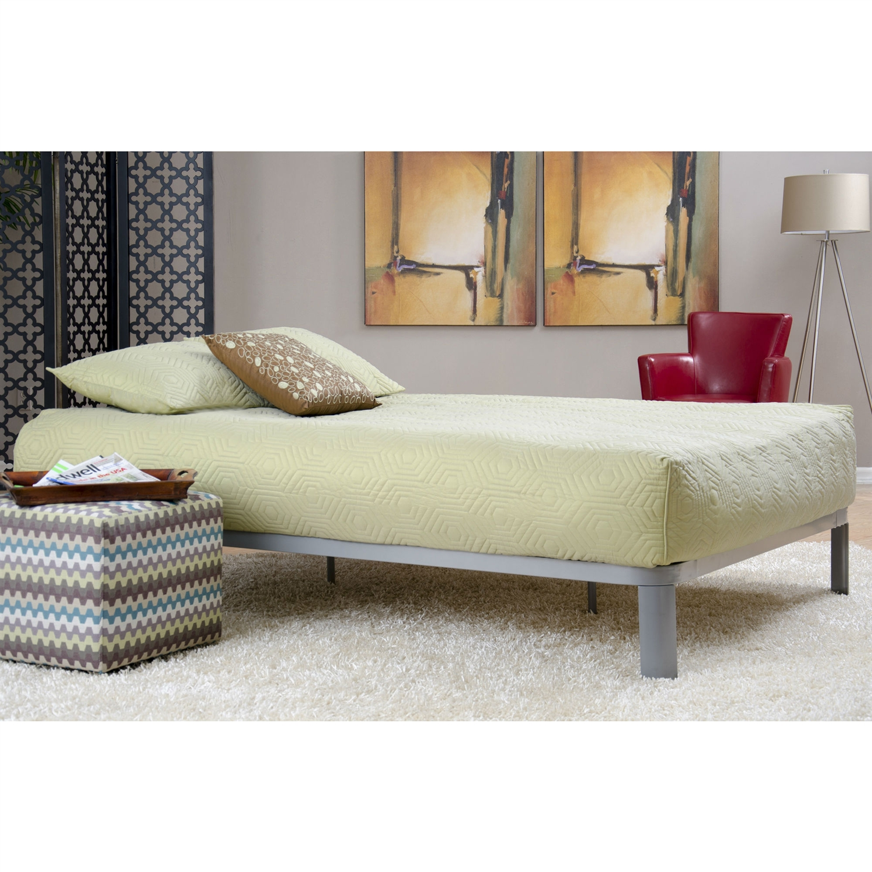Queen Size Metal Platform Bed Frame With Wood Slats