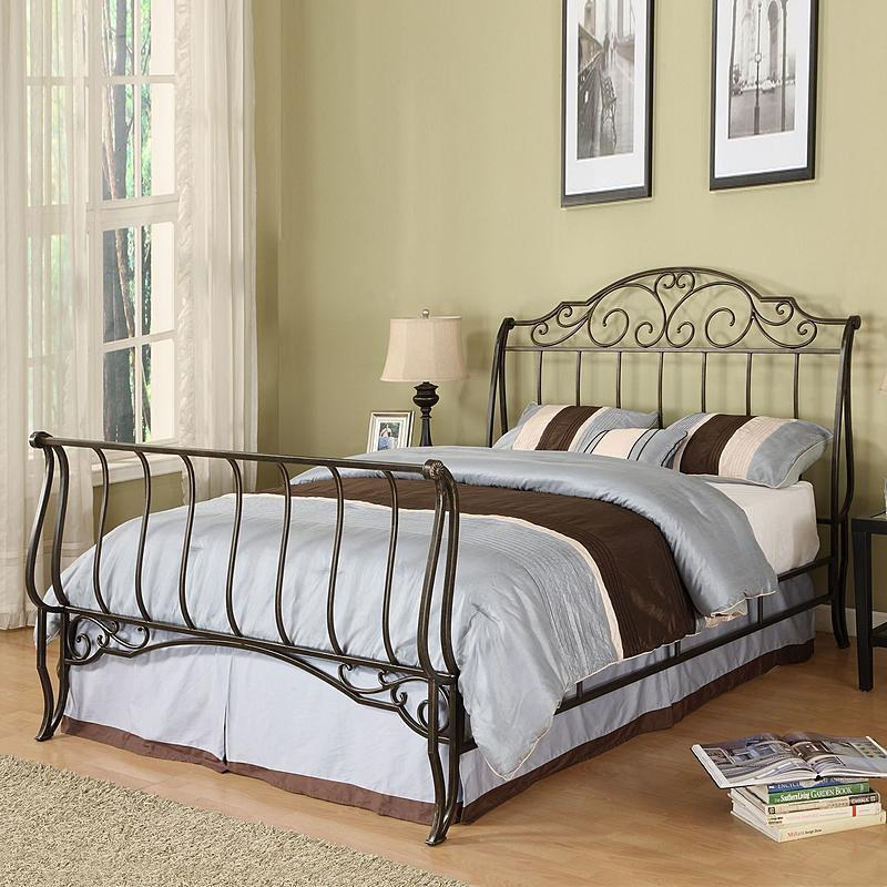 Queen Size Sleigh Bed Frame Black