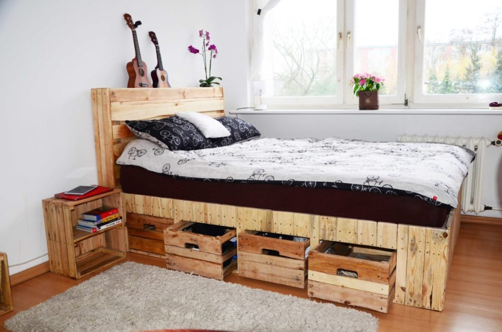 Reclaimed Wood Bed Frame With Storage