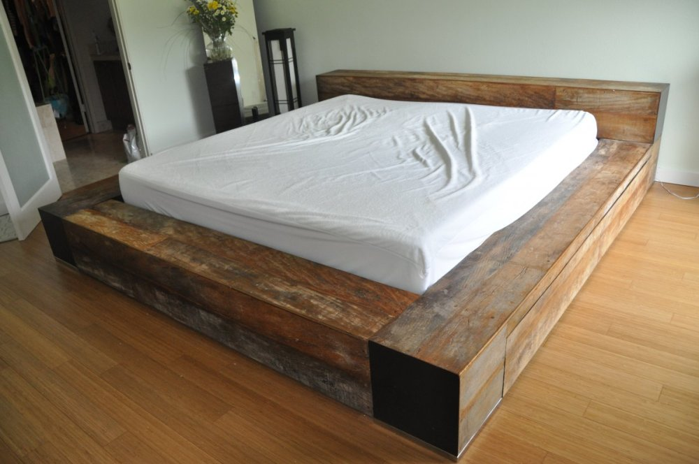 Reclaimed Wood King Bed Frame