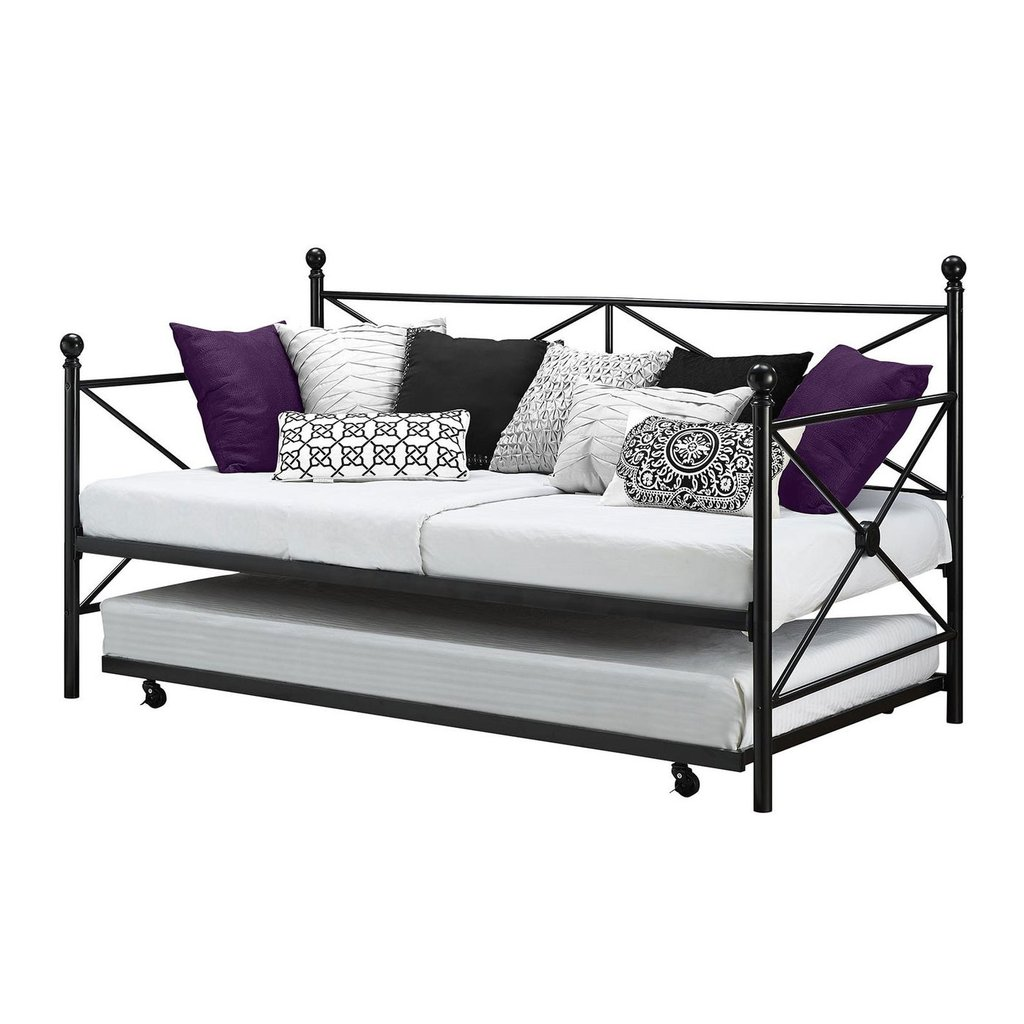 Roll Out Twin Metal Trundle Bed Frame Black