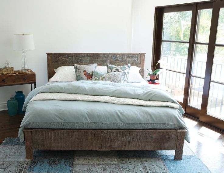 Rustic Wood King Bed Frame