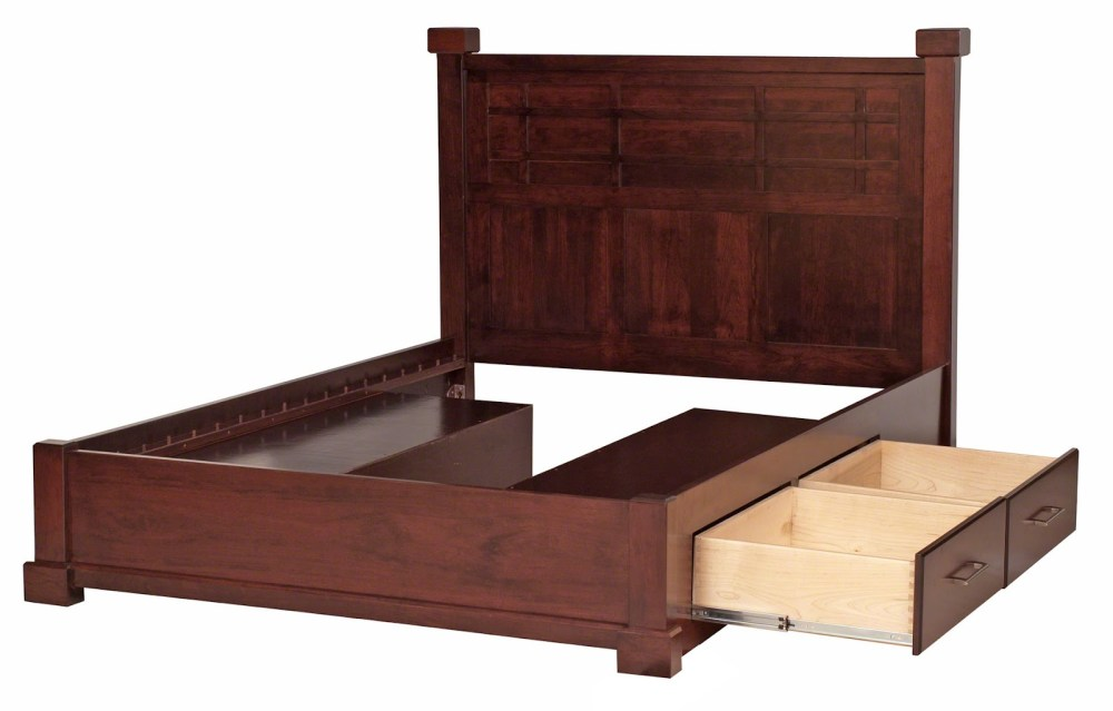 Solid Bed Frame With Storage