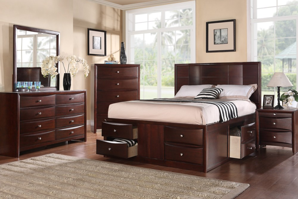 Solid Wood Queen Bed Frame With Drawers