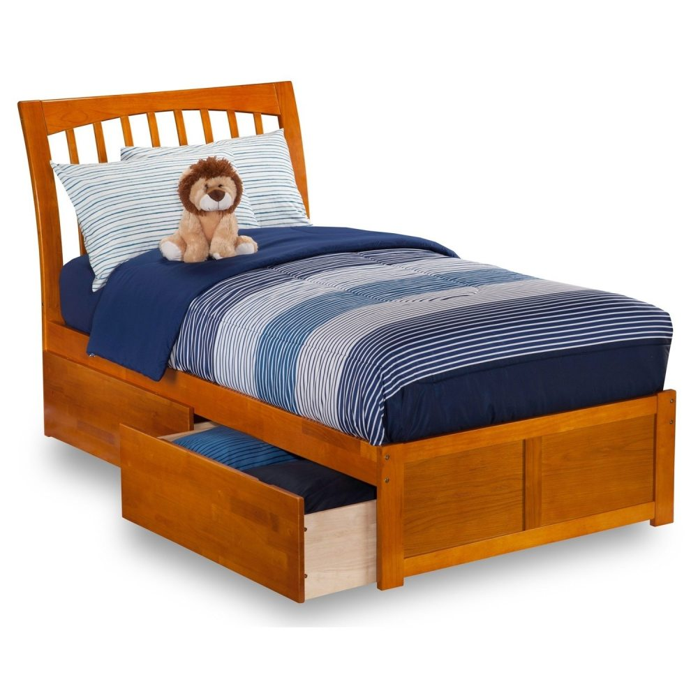 Solid Wood Twin Bed Frame With Storage