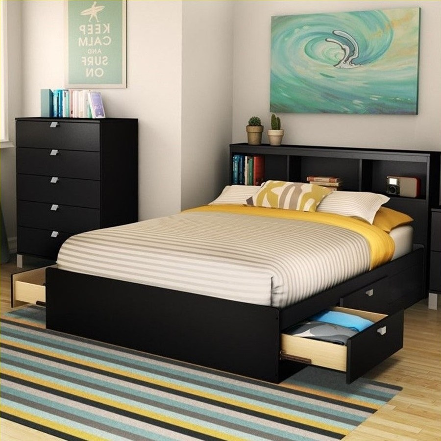 Twin Bed Frame With Bookshelf Headboard