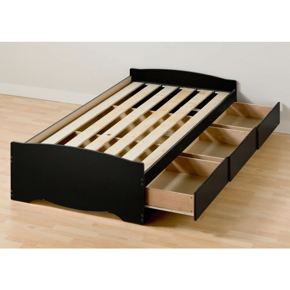 Twin Platform Bed Frame With Drawers