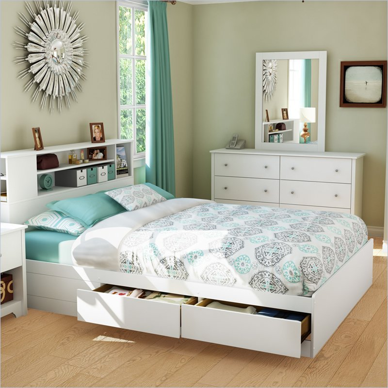 White Bed Frame Queen Size