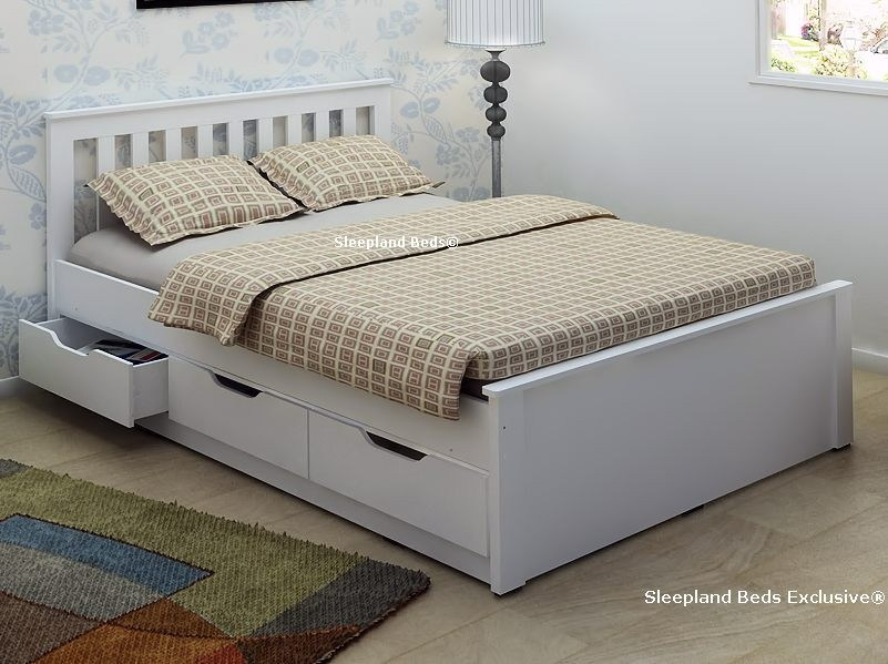 White Bed Frame With Storage Drawers
