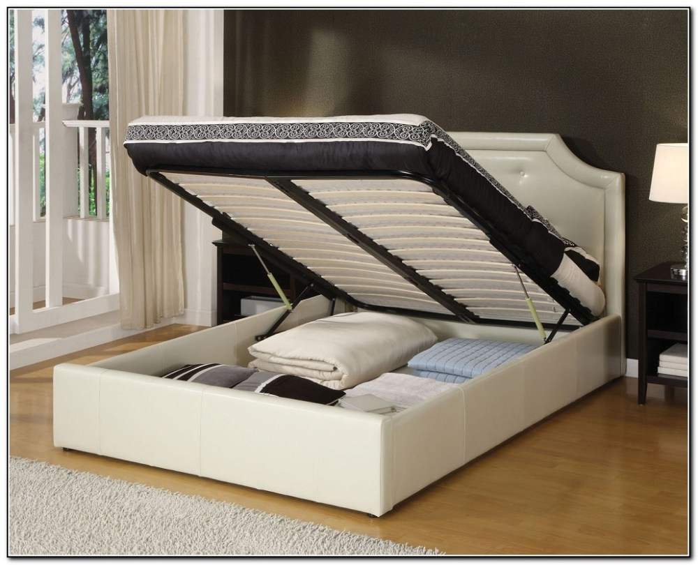 White Bed Frame With Storage Full