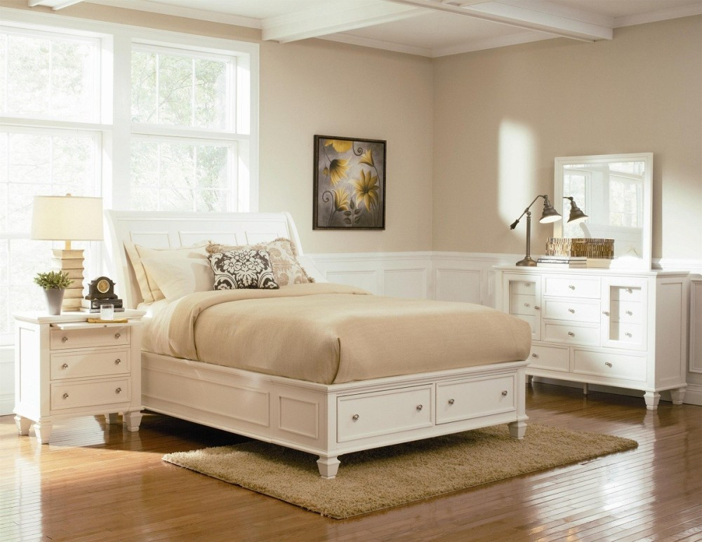 White Bed Frames With Drawers