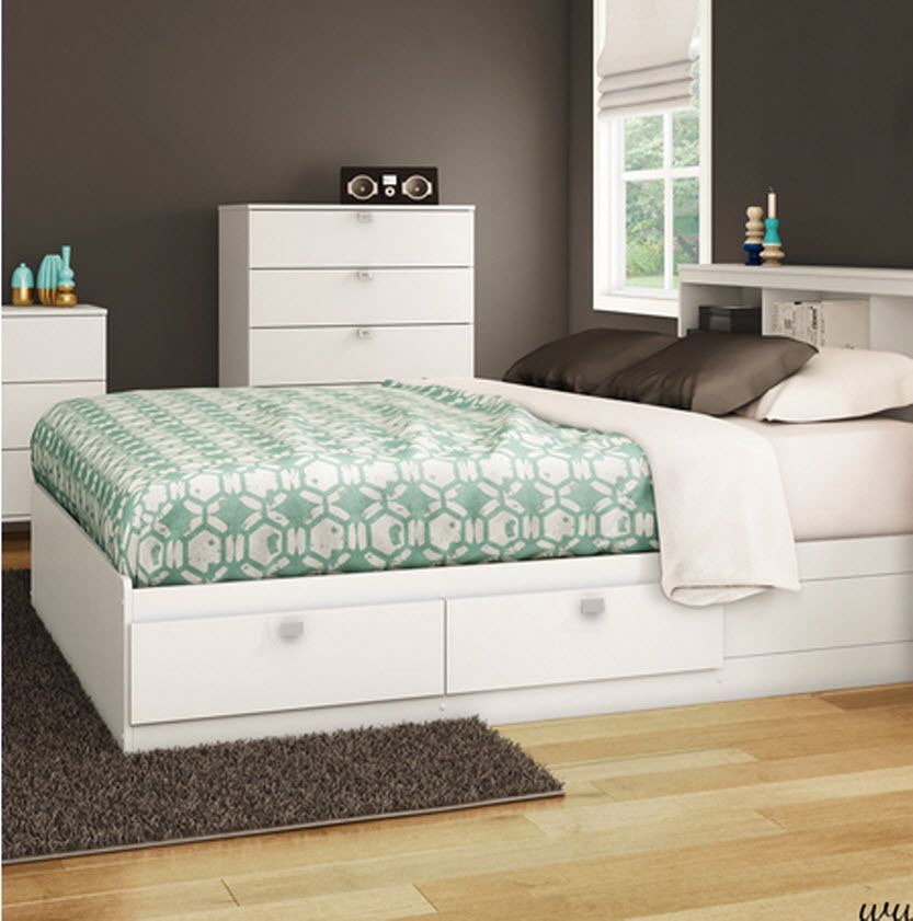 White Full Bed Frame With Storage