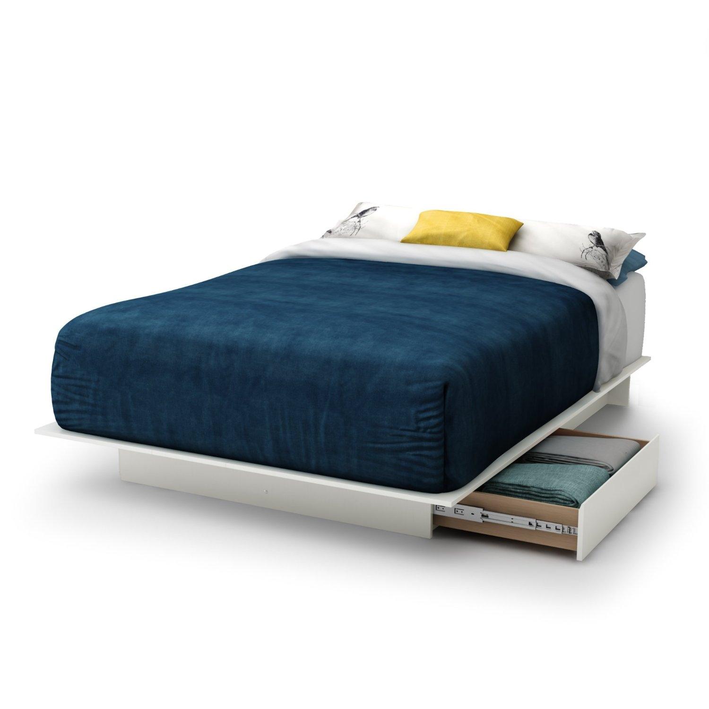 White Full Platform Bed Frame