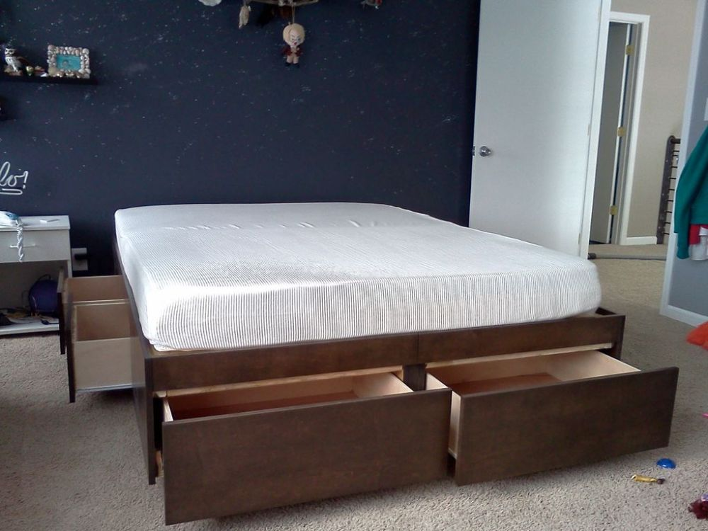 White Full Size Bed Frame With Drawers