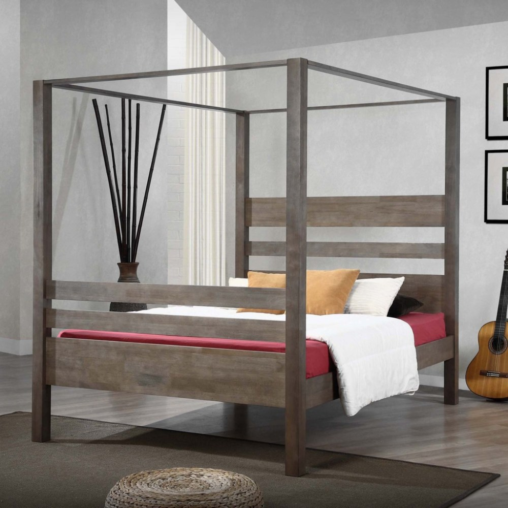 White Full Size Canopy Bed Frame
