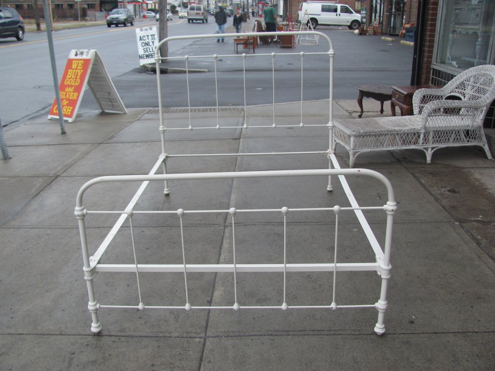 White Iron Bed Frame Antique