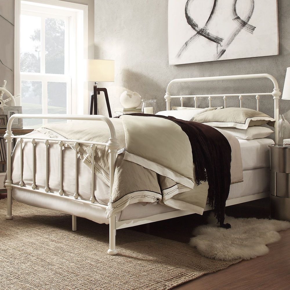 White Iron Bed Frame Full
