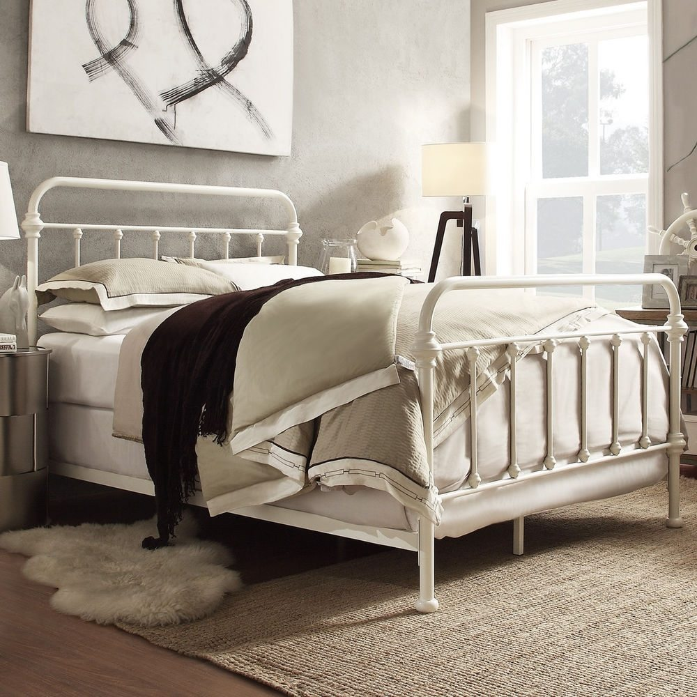 White Iron Full Bed Frame
