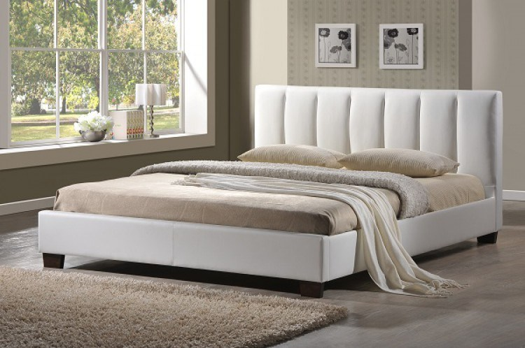 White Leather Bed Frame Double