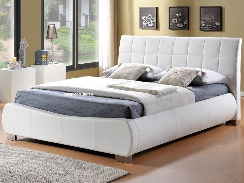 White Leather Bed Frame King Size
