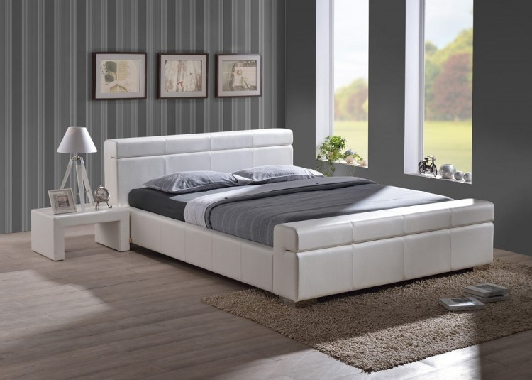 White Leather Bed Frame King