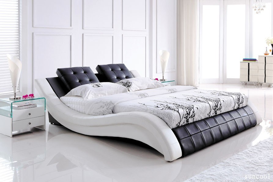 White Leather Bed Frame Queen