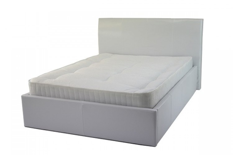 White Leather Bed Frame Single